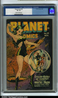 Golden Age (1938-1955):Science Fiction, Planet Comics #39 (Fiction House, 1945) CGC VF- 7.5 Cream tooff-white pages. Here is an incredible cover with tons of great...