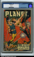 Golden Age (1938-1955):Science Fiction, Planet Comics #46 (Fiction House, 1947) CGC VF+ 8.5 Off-whitepages. Hailing from the most popular run published by Fiction ...
