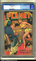 Golden Age (1938-1955):Science Fiction, Planet Comics #50 (Fiction House, 1947) CGC VF 8.0 Cream tooff-white pages. The incredible headlight cover on this issue mu...