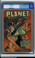 Golden Age (1938-1955):Science Fiction, Planet Comics #52 (Fiction House, 1948) CGC VF 8.0 Off-white pages.This is a super copy, with only a small chip at the uppe...