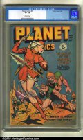 Golden Age (1938-1955):Science Fiction, Planet Comics #55 (Fiction House, 1948) CGC VF 8.0 Off-white pages. The platinum blonde on this cover is having to make some...