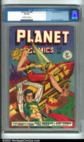 Golden Age (1938-1955):Science Fiction, Planet Comics #58 (Fiction House, 1949) CGC VF 8.0 Off-white towhite pages. Check out this cover! This is classic Fiction H...