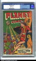 Golden Age (1938-1955):Science Fiction, Planet Comics #59 (Fiction House, 1949) CGC VF/NM 9.0 Off-white towhite pages. Mysta of the Moon is in deep trouble on this...