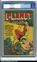 "Golden Age (1938-1955):Science Fiction, Planet Comics #62 (Fiction House, 1949) CGC VF+ 8.5 Cream to off-white pages. ""Aztarn, Voltan Supremus, challenges Hunt Bowm..."