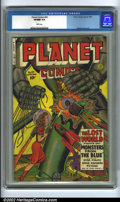 Golden Age (1938-1955):Science Fiction, Planet Comics #64 (Fiction House, 1950) CGC VF/NM 9.0 White pages. Here's a great cover for all of you robot fans! A beautif...
