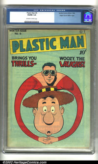 Plastic Man #6 Mile High pedigree (Quality, 1946) CGC VG/FN 5.0 Off-white to white pages. Edgar Church must have dropped...