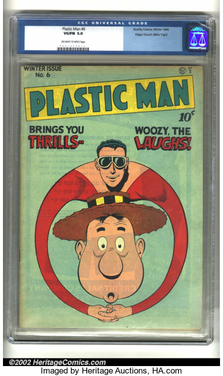 Plastic Man #6 Mile High pedigree (Quality, 1946) CGC VG/FN 5.0 Off-white to white pages. Edgar Church must have dropped thi...