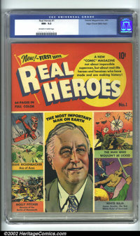 Real Heroes Comics #1 Mile High pedigree (Parents' Magazine Institute, 1941) CGC NM- 9.2 Off-white to white pages. Roose...