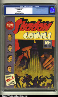 Shadow Comics #3 (Street and Smith, 1940) CGC VF/NM 9.0 Off-white pages. This fantastic cover painting of the popular ra...