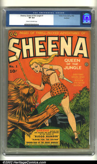 Sheena, Queen of the Jungle #1 Rockford pedigree (Fiction House, 1942) CGC VF 8.0 Cream to off-white pages. Sheena makes...