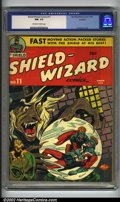 Golden Age (1938-1955):Superhero, Shield-Wizard Comics #11 Rockford pedigree (MLJ, 1943) CGC NM- 9.2 Off-white to white pages. A sensational cover by Irv Novi...