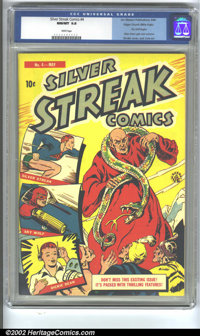 Silver Streak Comics #4 Mile High pedigree (Lev Gleason, 1940) CGC NM/MT 9.8 White pages. Featuring a cover by Otto Bind...