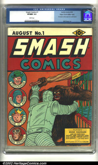 Smash Comics #1 Mile High pedigree (Quality, 1939) CGC VF/NM 9.0 White pages. A stunning key issue from the Mile High co...
