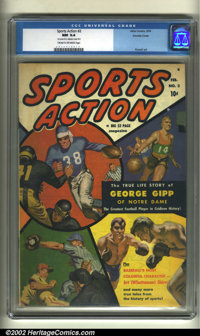 Sports Action #2 Double Cover (Atlas, 1950) CGC NM 9.4 Cream to off-white pages. How about this: a Bob Powell painted co...