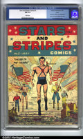 Golden Age (1938-1955):Superhero, Stars and Stripes Comics #2 (#1) Larson pedigree (Centaur, 1941) CGC NM 9.4 White pages. This book has everything you could ...
