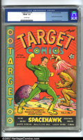 Golden Age (1938-1955):Superhero, Target Comics #7 (Novelty Press, 1940) CGC FN/VF 7.0 Off-white pages. A fantastic example of Basil Wolverton's early cover a...