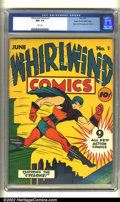 Golden Age (1938-1955):Superhero, Whirlwind Comics #1 Mile High pedigree (Nita Publication, 1940) CGC NM- 9.2 White pages. This fabulous book contains the ori...
