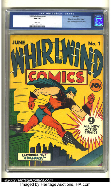 Whirlwind Comics #1 Mile High pedigree (Nita Publication, 1940) CGC NM- 9.2 White pages. This fabulous book contains the ori...
