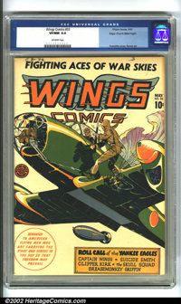Wings Comics #33 Mile High pedigree (Fiction House, 1943) CGC VF/NM 9.0 Off-white pages. Maybe a Yank paratrooper landin...
