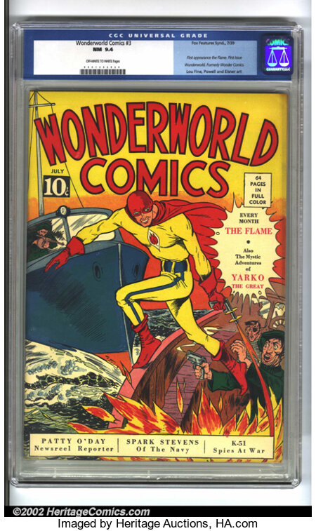 WonderWorld Comics #3 (Fox, 1939) CGC NM 9.4 Off-white to white pages. A true classic from the 1940s, featuring the first ap...