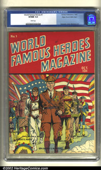 World Famous Heroes Magazine #1 Mile High pedigree (Centaur, 1941) CGC VF/NM 9.0 White pages. This cool Centaur has a gr...