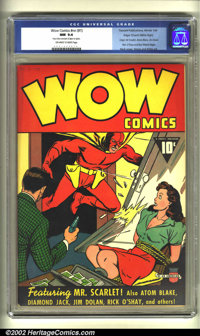 Wow Comics #1 Mile High pedigree (Fawcett, 1940) CGC NM 9.4 Off-white to white pages. Wow started off as an anthology fu...