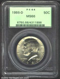 """Kennedy Half Dollars: , 1986-D 50C MS66 PCGS. The latest Coin World """"Trends"""" price ..."""