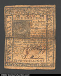 Colonial Notes:Delaware, January 1, 1776, 5s, Delaware, DE-77, VF. The body of this ...