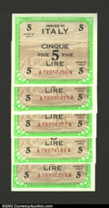 World Currency: , Italy Allied Military Currency 1943 5 lire, five examples, all ...