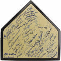 Autographs:Others, 1980's Hall of Famers & Stars Multi-Signed Home Plate.Exceptional compilation of sixty 9/10 and better blue sharpiesignat...