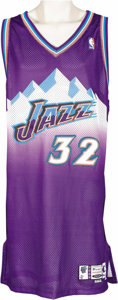"Basketball Collectibles:Uniforms, 2001-02 Karl Malone Game Worn Jersey. Just last year the Utah Jazzfittingly honored this ""Fifty Greatest"" player with the ..."