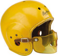 Football Collectibles:Helmets, Early 1950's Notre Dame Game Worn Helmet. Almost certainly the oddest helmet ever worn on the gridiron by the Fighting Iris...