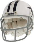 Football Collectibles:Helmets, 2006 Terry Glenn Game Worn Throwback Helmet. Classic white helmet with blue stars and center striping shows some rough and ...