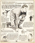 Football Collectibles:Others, 1950's Jim Thorpe Signed Original Cartoon Artwork. Fine work recounting the highlights of an amazing athletic career was pr...