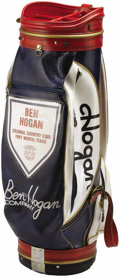 Golf Collectibles:Miscellaneous, 1970's Ben Hogan Personally Owned Golf Bag. Patriotic red, white and blue leather bag is the one used by Hogan at his favor...
