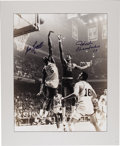 "Autographs:Photos, 1980's Wilt Chamberlain & Bill Russell Signed MassivePhotograph. Simply enormous image captures these two definitive""big ..."