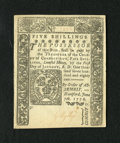 Colonial Notes:Connecticut, Connecticut June 7, 1776 5s Uncancelled Choice About New+++.Technically a light horizontal fold is seen from the back of th...