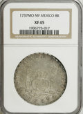 Mexico: , Mexico: Philip V Pillar 8 Reales 1737 Mo-MF, KM103, Cayon-9398,XF45 NGC. Moderate abrasions with a bit of softness on the left(fac...