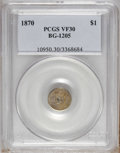 California Fractional Gold: , 1870 $1 Goofy Head Round 1 Dollar, BG-1205, High R.4, VF30 PCGS.PCGS Population (2/40). NGC Census: (1/7). (#10950)...
