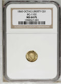 California Fractional Gold: , 1860 $1 Liberty Octagonal 1 Dollar, BG-1102, R.4, MS64 ProoflikeNGC. The 0 in the date is widely repunched. Die State II, ...