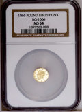 California Fractional Gold: , 1866 50C Liberty Round 50 Cents, BG-1006, R.5, MS64 NGC. NGCCensus: (1/2). PCGS Population (10/2). (#10835)...