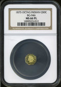 California Fractional Gold: , 1875 50C Indian Octagonal 50 Cents, BG-946, R.4, MS66 ProoflikeNGC....