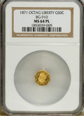 California Fractional Gold: , 1871 50C Liberty Octagonal 50 Cents, BG-910, High R.5, MS64Prooflike NGC. A moderately reflective yellow-gold piece that i...