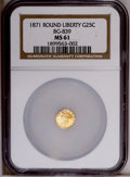 California Fractional Gold: , 1871 25C Liberty Round 25 Cents, BG-839, Low R.4, MS61 NGC. PCGSPopulation (15/68). (#10700)...