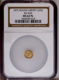 California Fractional Gold: , 1870 25C Liberty Round 25 Cents, BG-835, R.3, MS62 Prooflike NGC.PCGS Population (57/28). (#10696)...