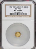 California Fractional Gold: , 1852 25C Indian Octagonal 25 Cents, BG-799U, High R.5, MS65 DeepMirror Prooflike NGC. PCGS Population (...