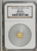 California Fractional Gold: , 1870 25C Liberty Octagonal 25 Cents, BG-752, Low R.5, MS63Prooflike NGC....