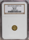 California Fractional Gold: , 1853 $1 Liberty Octagonal 1 Dollar, BG-523, R.5, MS62 NGC. PCGSPopulation (2/2). (#10500)...