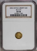 California Fractional Gold: , 1853 $1 Liberty Octagonal 1 Dollar, BG-519, Low R.4, AU58 NGC. PCGSPopulation (23/42). (#10496)...