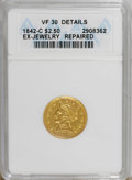 1842-C $2 1/2 --Repaired--ANACS. VF30 Details. NGC Census: (4/51). PCGS Population (6/53). Mintage: 6,729. Numismedia Ws...